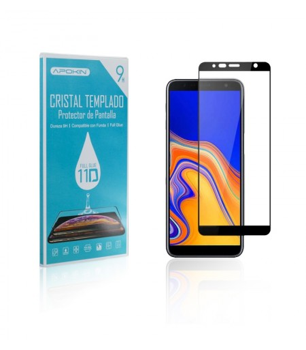 Cristal templado Full Glue 11D Premium Samsung Galaxy J4 Plus Protector de Pantalla Curvo Negro
