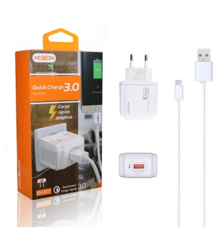 Cargador Red Moxom KH-67Y Quick Charge 3.0 + Cable MicroUSB