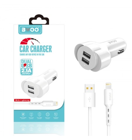 Cargador Coche BWOO 2.1A + Cable Lightning