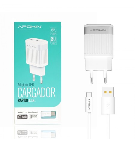 Cargador Red Doble USB 2.1A APOKIN + Cable lightning  de 1 Metro - Blanco