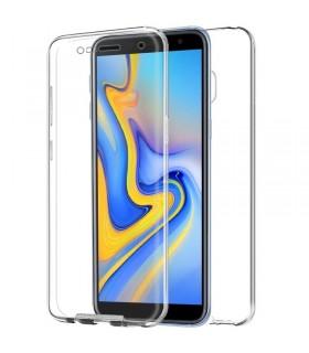 Funda Doble Samsung Galaxy J6 Plus Silicona Transparente Delantera y Trasera