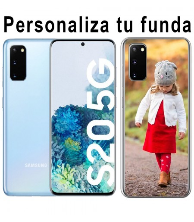 Personaliza tu funda Samsung Galaxy S20 de Silicona Flexible Transparente Carcasa Case Cover de Gel TPU para Smartphone