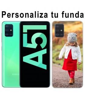 Personaliza tu funda Samsung Galaxy A51 de Silicona Flexible Transparente Carcasa Case Cover de Gel TPU para Smartphone