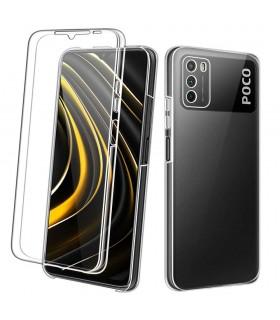 Funda 360 [Xiaomi POCO M3] PC + TPU Carcasa Doble Cara 360 de Silicona Delantera + Trasera Rigido Reforzada Transparente