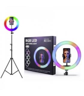 Anillo con luz RGB Multicolor MJ-33 33CM + CON SOPORTE