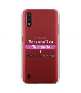 Personaliza tu Funda [Samsung Galaxy A01] de Silicona Flexible Transparente Carcasa Case Cover de Gel TPU para Smartphone