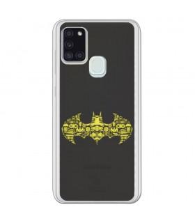 Funda para [Samsung Galaxy A21s] DC Justice League Oficial [Simbolo Batman] Silicona Flexible Carcasa para Smartphone.