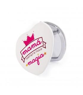 Espejo Forma de Corazón | Mamá Siempre Hace Magia | Para el Día de la Madre | 6.5 x 6.5 cm