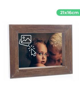 Portafotos Marco Personalizado de efecto madera - Pon tu Imagen, Foto y Texto para un Regalo Especial | Tamaño 21 x 16 cm