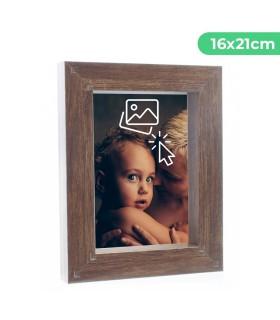 Portafotos Marco Personalizado de efecto madera - Pon tu Imagen, Foto y Texto para un Regalo Especial | Tamaño 16 x 21 cm