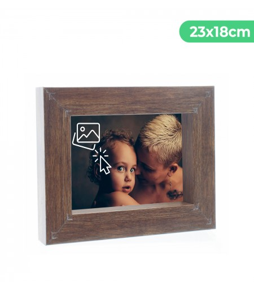 Portafotos Marco Personalizado de efecto madera - Pon tu Imagen, Foto y Texto para un Regalo Especial | Tamaño 23x18 cm