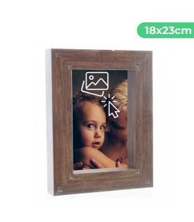 Portafotos Marco Personalizado de efecto madera - Pon tu Imagen, Foto y Texto para un Regalo Especial | Tamaño 18x23 cm