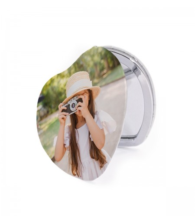 Espejo Personalizado con forma de  Corazón |impresión a una cara| medida 6.5x6.5 cm