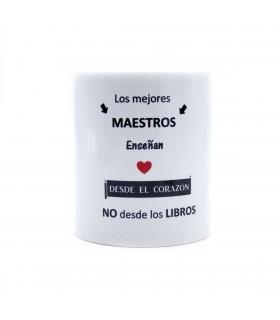 Taza cerámica blanca | Los Mejores Maestros Enseñan | Día del Profe | Capacidad 330ml