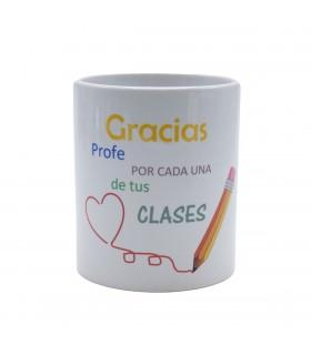 Taza cerámica blanca |Gracias Profe Por Cada Una De Tus Clases | Día del Profe | Capacidad 330ml