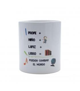 Taza cerámica blanca |Profe + Niño + Lápiz + Libro | Día del Profe | Capacidad 330ml