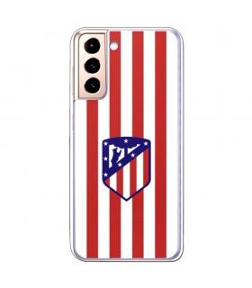 Funda para [Samsung Galaxy S21] ATM Atlético de Madrid [Escudo Rojiblanco] Licencia Oficial de Silicona Flexible Transparente