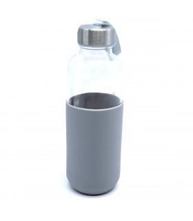 Botella cristal con funda |400 ML |Disponible en NEGRO, GRIS O ROJO