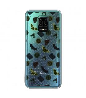 Funda para [Xiaomi Redmi Note 9S] DC Justice League Oficial [Patrón Símbolos] Silicona Flexible Carcasa para Smartphone.