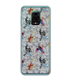 Funda para [Xiaomi Redmi Note 9S] DC Justice League Oficial [Patrón Heroes] Silicona Flexible Carcasa para Smartphone.