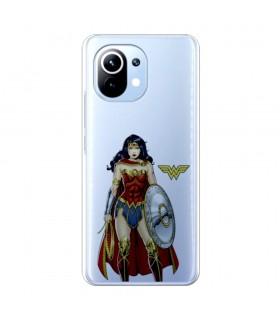 Funda para [Xiaomi Mi 11] DC Justice League Oficial [Wonder Woman Escudo] Silicona Flexible Carcasa para Smartphone.