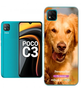 Personaliza tu Funda [Xiaomi POCO C3] de Silicona Flexible Transparente Carcasa Case Cover de Gel TPU para Smartphone