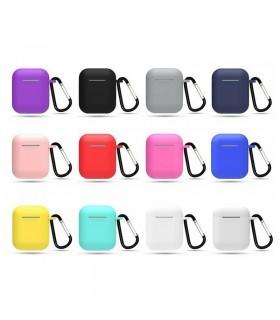 Funda Silicona Auriculares AirPods con mosquetón - 8 colores